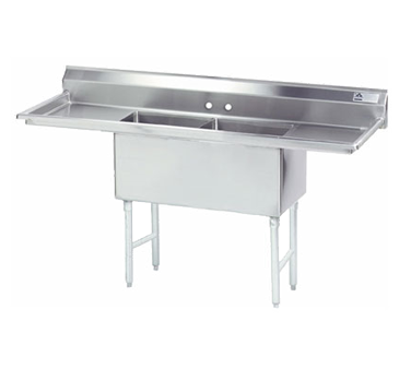 MAJ2-242412DCSY – Majestic Stainless Steel Two Compartment Sink, Left & Right Drainboards