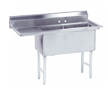 MAJ2-242412LCSY – Majestic Stainless Steel Two Compartment Sink, Left Drainboard