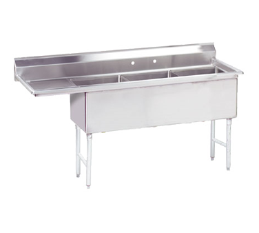 MAJ3-242412LCSY – Majestic Stainless Steel Three Compartment Sink, Left Drainboard