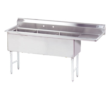 MAJ3-181812RCSY – Majestic Stainless Steel Three Compartment Sink, Right Drainboard