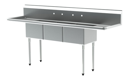 MAJ3-242412DCSY – Majestic Stainless Steel Three Comp Sink, Left & Right Drainboards