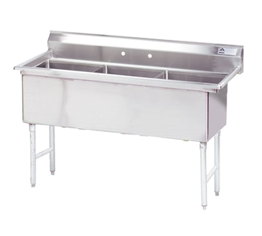 MAJ3-242412NH – Majestic Stainless Steel Three Compartment Sink