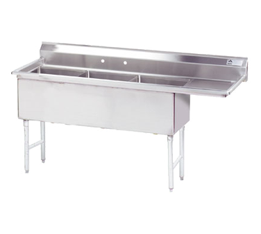 MAJ3-242412RCSY – Majestic Stainless Steel Three Compartment Sink, Right Drainboard